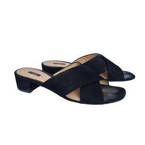 MNG Black Suede Slide Mule Block Heel 9